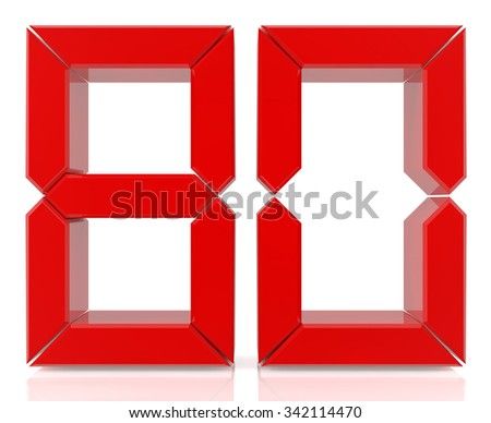 Red digital numbers 80 on white background 3d rendering - stock photo