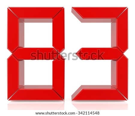 Red digital numbers 83 on white background 3d rendering - stock photo