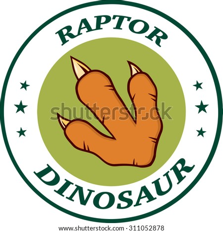 Red Dinosaur Paw With Claws Circle Logo Design With Text. Raster Illustration Isolated On White Background - stock photo