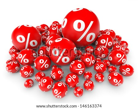 Red discount balls. 3D illustration. - stock photo