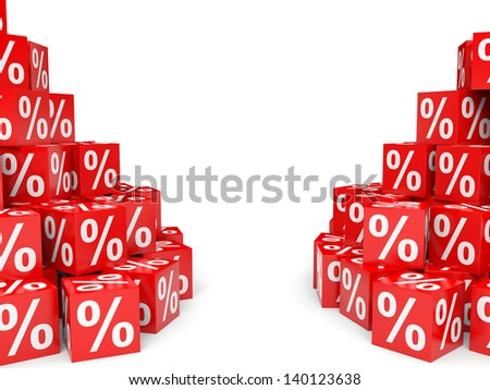 Red discount cubes. 3D illustration.