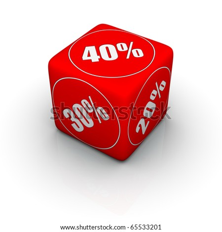 red discount dice for sales promotion