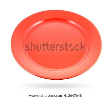 Red dish isolated on a white background. With clipping path - stock photo