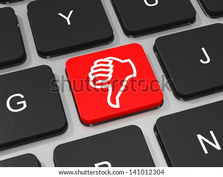 Red dislike key on keyboard of laptop computer. 3D illustration. - stock photo