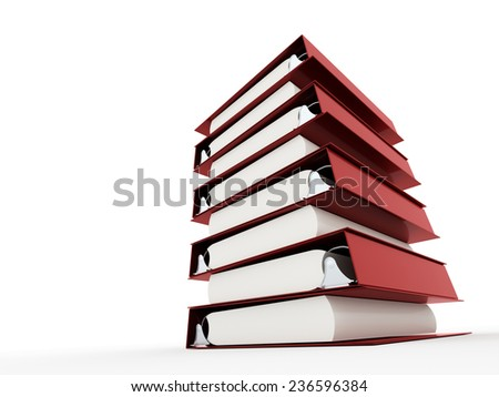 Red documents folder book rendered on white background - stock photo