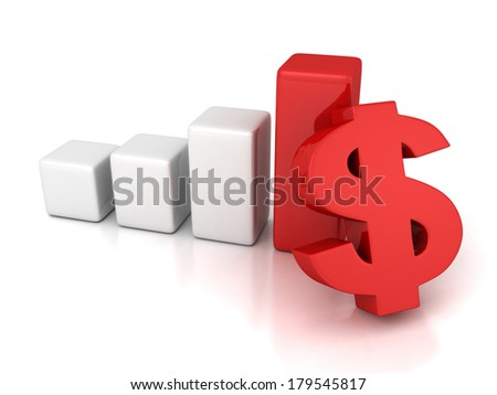 red dollar symbol financial success bar chart graph 3d