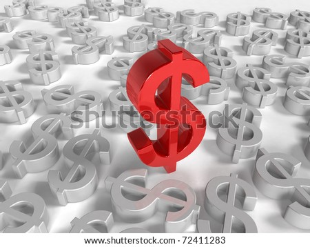 Red Dollar symbols on white Background one Dollor stands out
