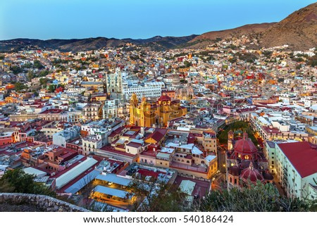 Red Dome Templo San Diego San Diego Church Jardin Town Square Juarez Theater Guanajuato, Mexico From Le Pipila Overlook