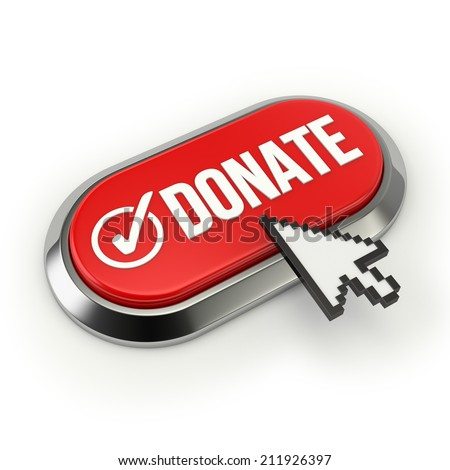Red donate button with metallic border on white background