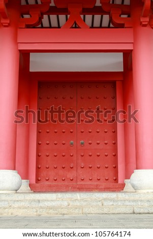Red door China traditional style at temple - stock photo
