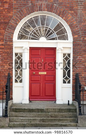 Red door on a townhouse in Dublin, Ireland