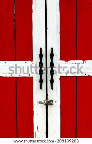 Red door with white edge or background