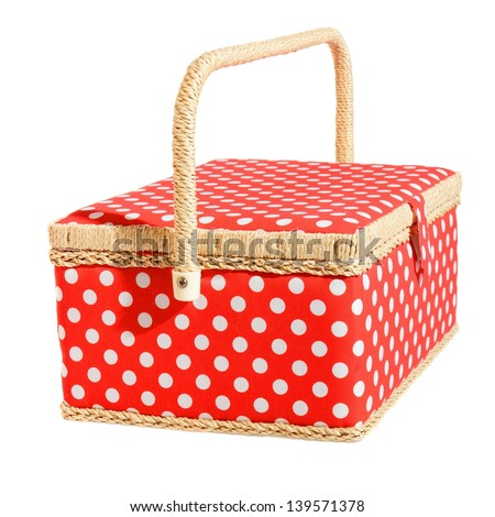 Red dotted basket. Isolated on white - stock photo