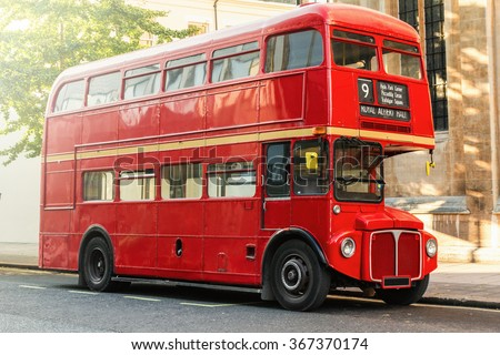 Red Double Decker Bus in London, UK - stock photo