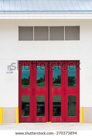Red Double Door - stock photo