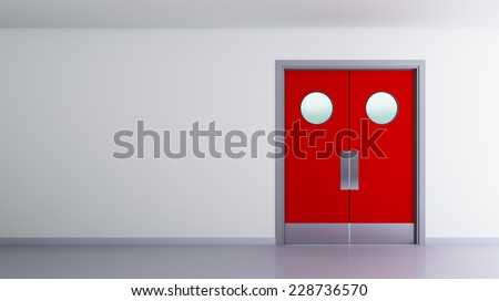 red double door interior view of a room  - stock photo