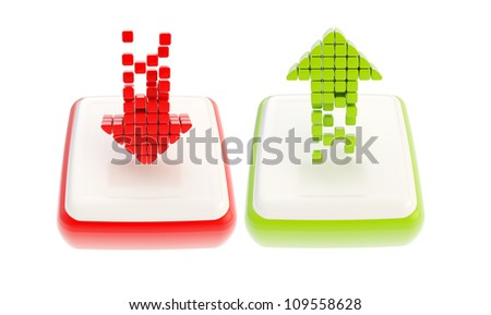 Red down and green up arrow glossy icon emblem isolated on white background - stock photo