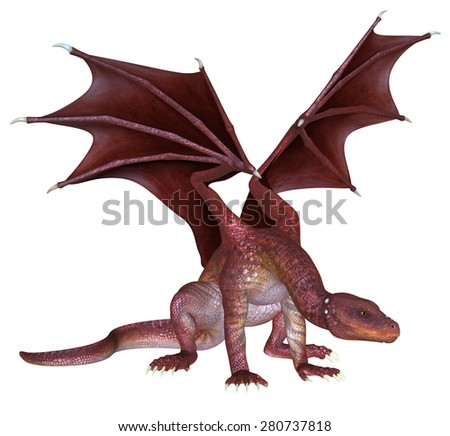 Red Dragon - 3D rendered fantasy creature - stock photo