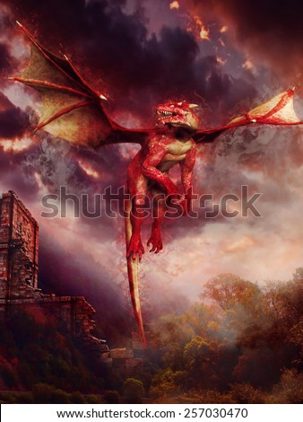 Red dragon flying over ruins of a castle - stock photo
