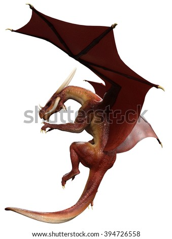 red dragon flying side view - stock photo
