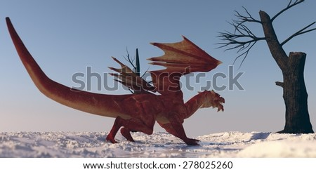 red dragon on snow - stock photo