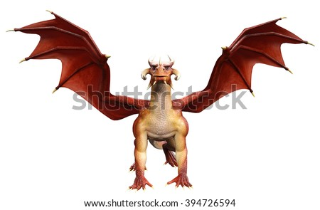 red dragon stand up - stock photo