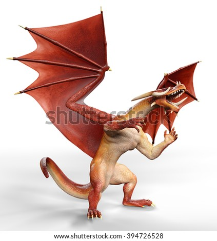 red dragon stand up and fighting - stock photo