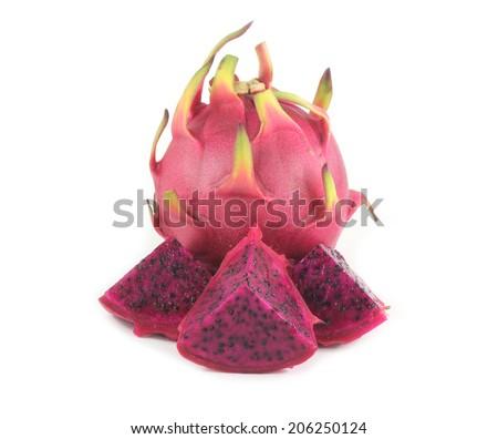 red dragonfruit on white background - stock photo