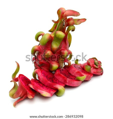 red dragonfruit with high nutrient good for health - stock photo