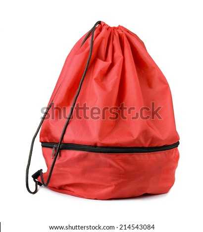 Red drawstring shoe bag isolated on white - stock photo