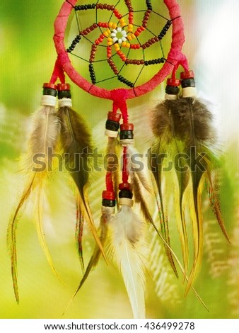 Red dream catcher on forest background