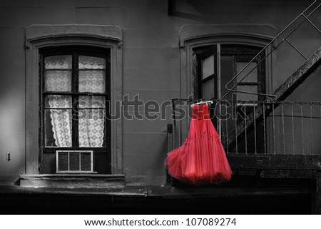 Red Dress in New York City - stock photo
