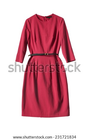 Red dress with leather belt isolated over white - stock photo