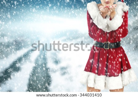 red dress woman and sky of winter ice  - stock photo