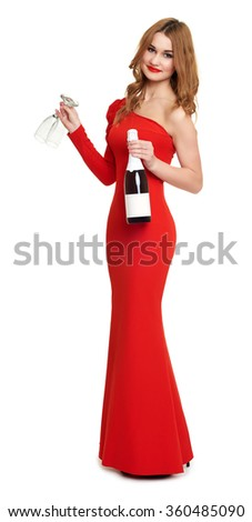 red dressed woman with champagne and wineglass on white - stock photo