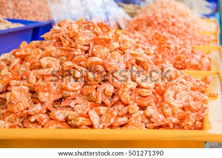 red dried shrimp in market