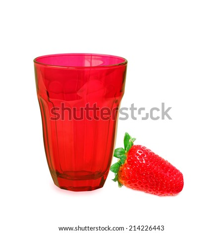 Red drink glass and only strawberries berry isolated on white background. Close up