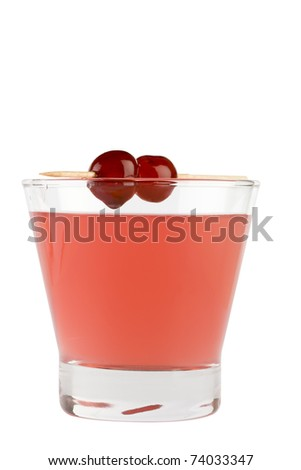 Red drink in lowball glass isolated on white background - stock photo