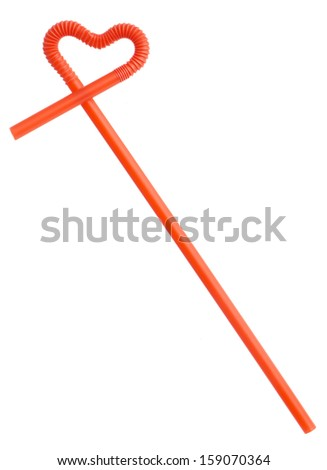 Red drinking straw - stock photo