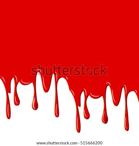 Red dripped blood. Halloween concept: Border, isolated on white background raster illustration
