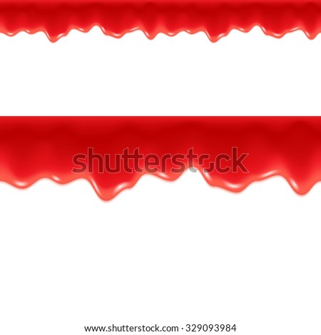 Red Drips. Seamless Border. Strawberry or Raspberry Jam or Ketchup. - stock photo