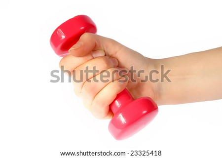 Red dumb-bell in a womanish hand on a white background - stock photo