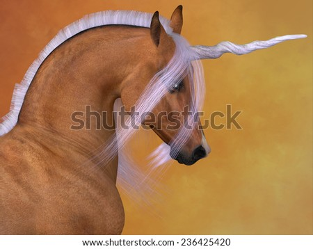 Red Dun Unicorn - A Unicorn is a creature of fantasy and mythology which has a horn on its head, a lion's tail and cloven hooves. - stock photo