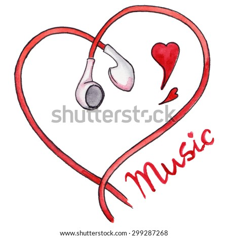 Red earphones heart shaped love music isolated