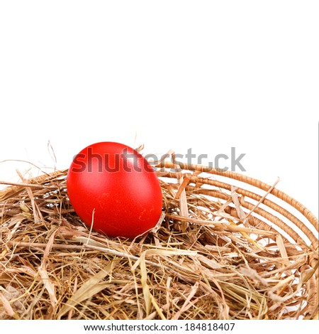 red easter egg in straw nest  with place for text