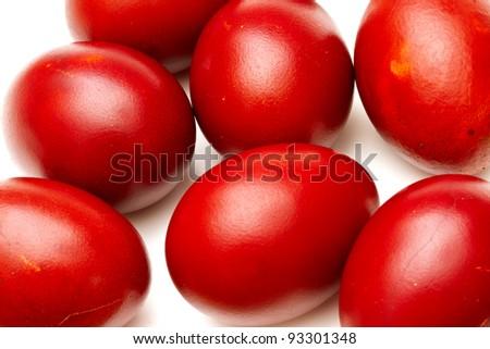 Red easter eggs closeup macro - stock photo