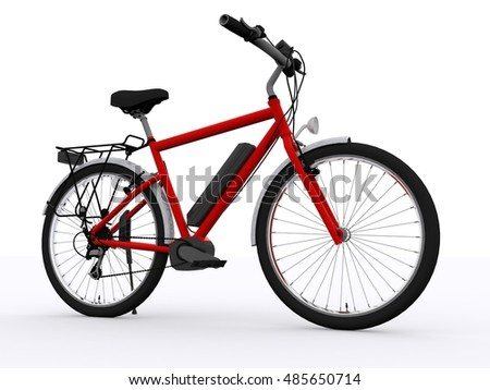 red ebike 3d rendering
