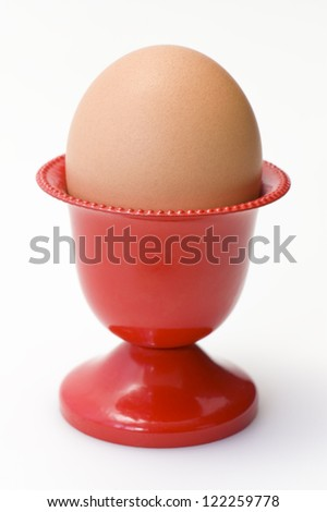 Red egg cup - stock photo