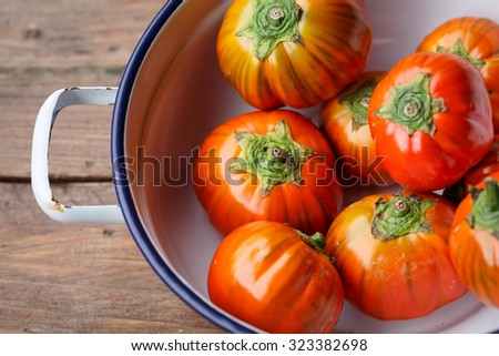 Red eggplant (Solanum aethiopicum) from Rotonda, region Basilicata, Italy - stock photo
