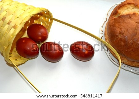 red eggs and cake
